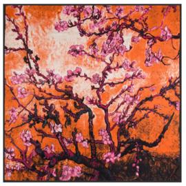 Van Gogh Amandelbloesem | Zijden Sjaal Dames | Zijde blend | 130*130CM | Giftbox | oranje