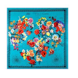 Emilie Scarves Sjaal Zijden blend 130*130CM turkoois - Bloemen - Giftbox