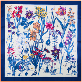 Emilie Scarves Sjaal Zijden blend 130*130CM Blauw - Bloemen - Giftbox
