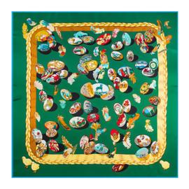 Emilie Scarves Sjaal Zijden blend 130*130CM Groen - Fabergé - Giftbox