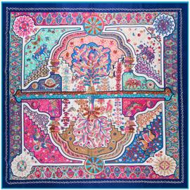 Emilie Scarves Sjaal Zijden blend 130*130CM Blauw - Marrakesh - Giftbox