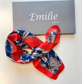 Zijden sjaaltje | Vierkant | Klein Kort sjaaltje | 70*70CM | Blauw | rood Zijden sjaaltje | Vierkant | Klein Kort sjaaltje | 70*70CM | Blauw | rood