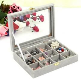 Sieraden display voor het opbergen van kralen manchetknopen / ringen / oorbellen sieraden doos met vakjes - grijs velours