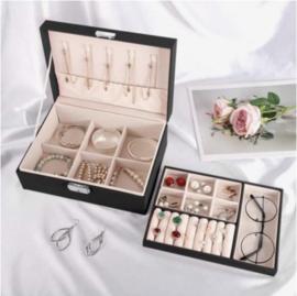 Sieraden organiser bijouterie doos - zwart - met slot en sleutel