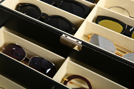 Brillen doos groot | opbergdoos zonnebrillen | display | 18 brillen | sleutelslot