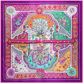 Emilie Scarves Sjaal Zijden blend 130*130CM paars - Marrakesh - Giftbox