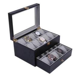Horlogedoos 20 vakken - zwart goud - luxe