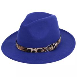 Hoed - fedora - panterprint - kobaltblauw