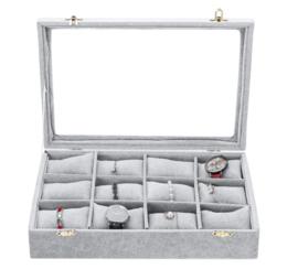 Sieraden display met 12 vakken voor armbanden of horloges met glazen deksel - grijs