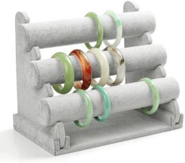 Sieraden display voor het presenteren van armbanden - 3 cilinders grijs