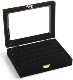 Sieraden display voor het opbergen van manchetknopen / ringen / oorbellen sieraden doos met klep / deksel small - zwart