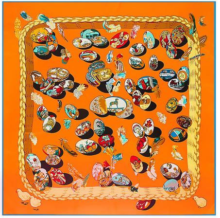 Emilie Scarves Sjaal Zijden blend 130*130CM Oranje - Fabergé - Giftbox