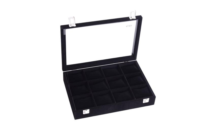 Sieraden display met 12 vakken voor armbanden of horloges met glazen deksel - zwart - sieraden doos