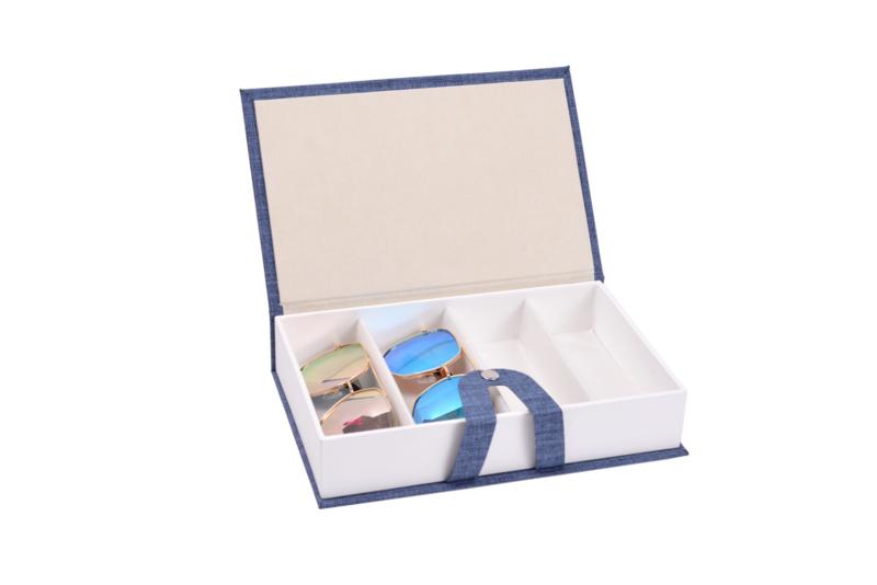 Brillen doos | opbergdoos zonnebrillen | display reis etui box boek | 4 brillen