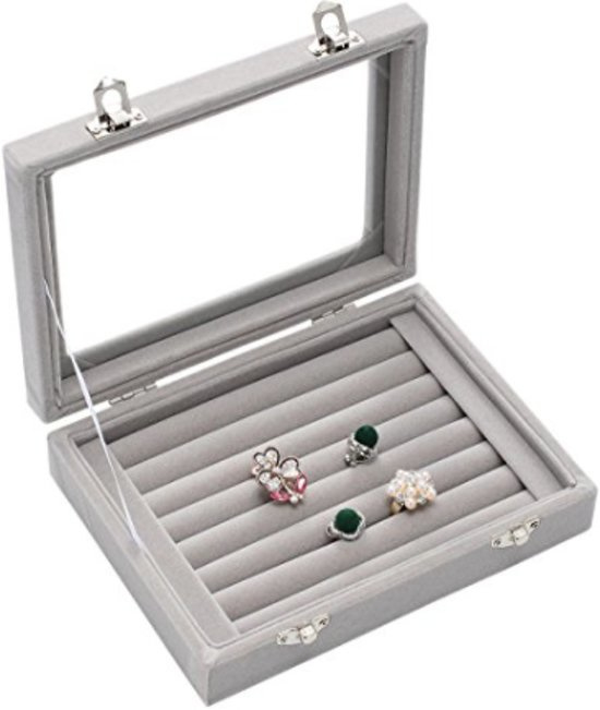 Fliex Sieraden display Ringen manchetknopen Grijs - Velours - Glas