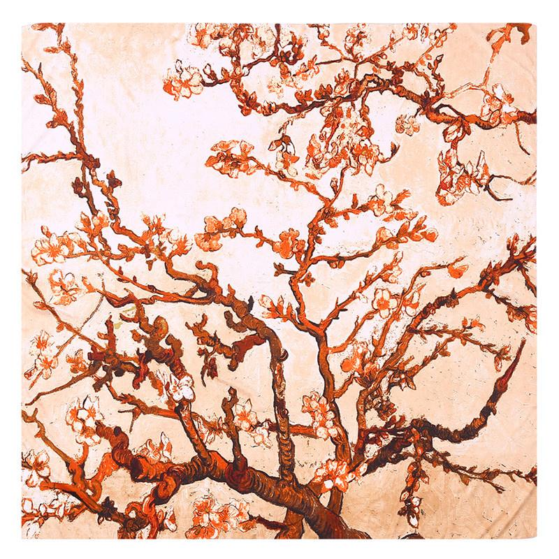 Van Gogh Amandelbloesem | Zijden Sjaal Dames | Zijden blend | 130*130CM | Giftbox | shawl stola | Schilderij | Beige Oranje