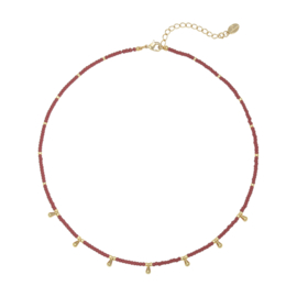 Gold drops necklace - red