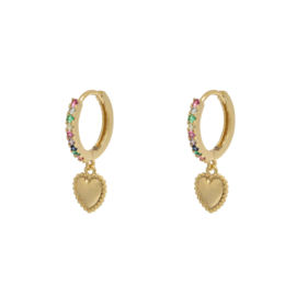 Colorful love earring - gold