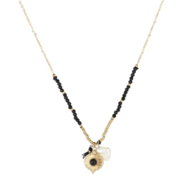 Coin pearl necklace black - gold
