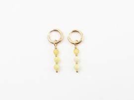 Yellow three stones earring - gold