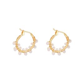 Pink little balls earring - gold