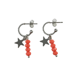 Red stone star earring