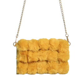 Fluffy schoudertas - geel