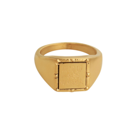 Quote 'Head up' ring - gold