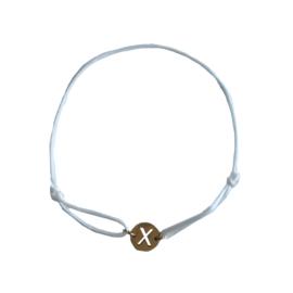 Satin bracelet X - white