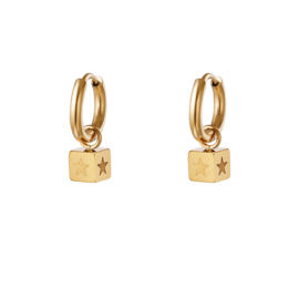 Star cube earring - gold