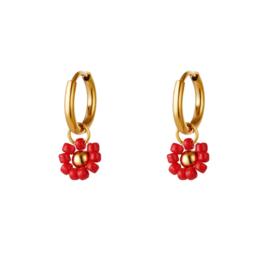 Red flower earring - gold