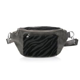 Zebra bum bag - black