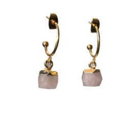 Rose hexagon earring - gold