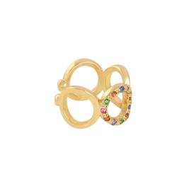 Multicolor round earcuff - gold