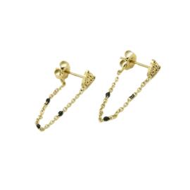Leopard black dots earring - gold