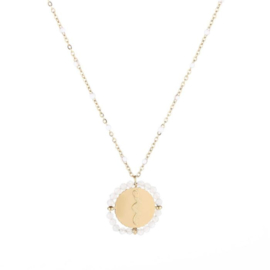 White snake necklace - gold