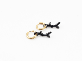 Black twig earring - gold