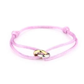 Satin lila knot bracelet - gold/silver