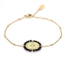 Black charm bracelet - gold