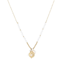 Coin pearl necklace white - gold