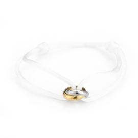 Satin white knot bracelet - gold/silver