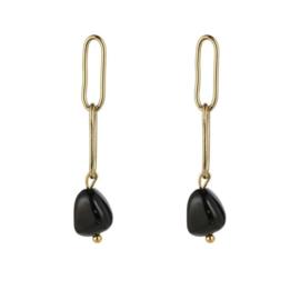 Black stone chain earring - gold