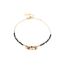 Black charm with stars bracelet - gold