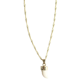 White charm necklace - gold