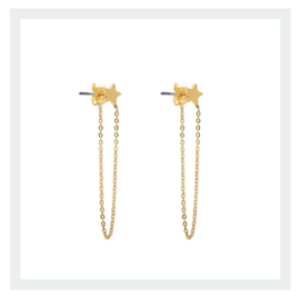 Chain with star earring - gold