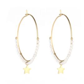 Shine star earring white - gold