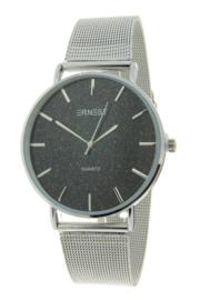 Elegance silver horloge - glitter black