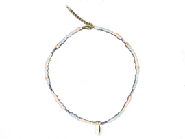 Shell pastel beads necklace - gold