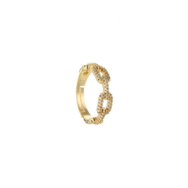 Chain strass ring - gold