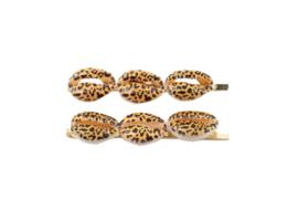 Sea shell leopard haarschuifje - gold